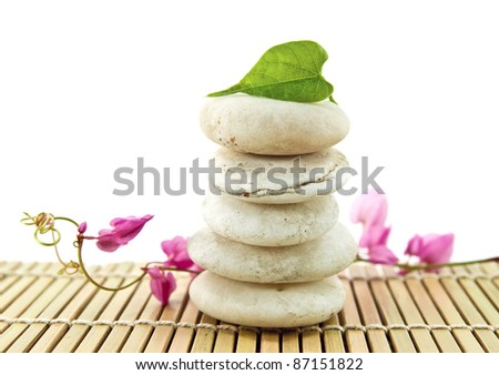 Stack of white stones with green leaf and flower.