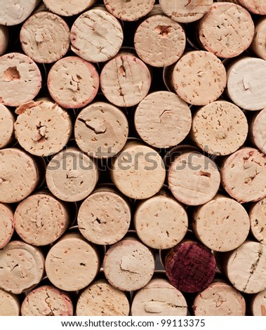 Stack of wine corks as a flat textured background