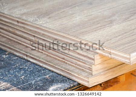 stack of wood board in workshop #1326649142