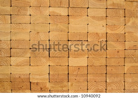 Stack of wood planks on lumber yard