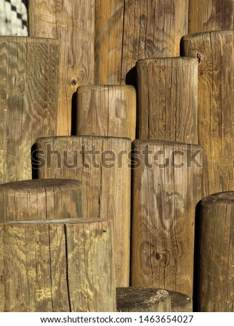 Stack of wood. Wooden poles or stakes on verical photography. Standing wooden logs. Many stakes next to each other on a vertical photo. #1463654027