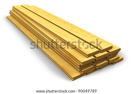 Stack of wooden construction planks isolated on white background