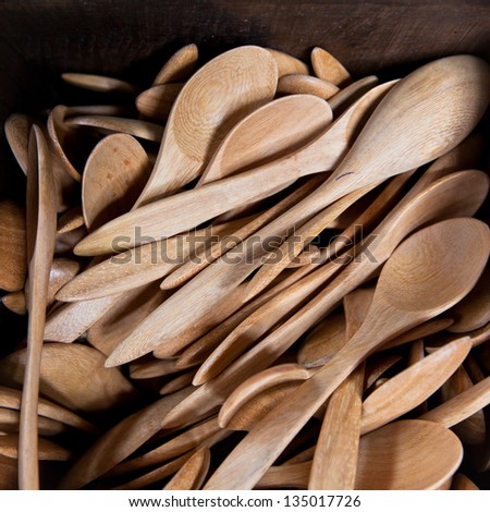 Stack of wooden spoon in the box