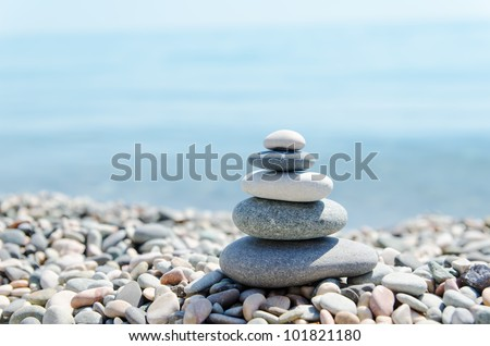 stack of zen stones on beach