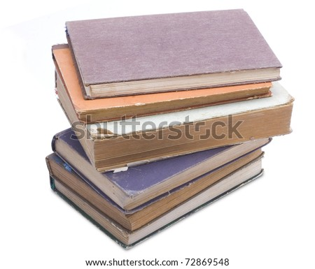 Stack old books isolated on white