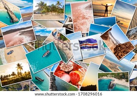 Stack pile of Cape Verde landscape photo collage montage , Santiago, Sal, Boavista, Sao vicente Zdjęcia stock ©