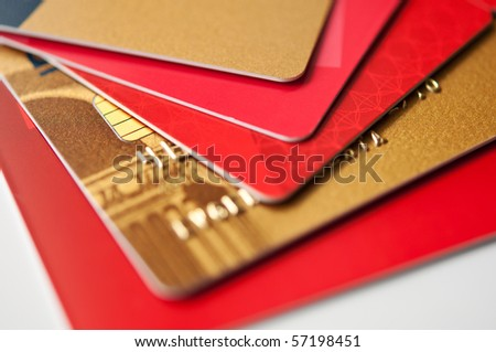 stack plastic credit cards and giftcards, closeup, selective focus