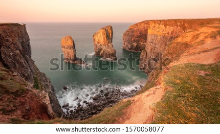 Stack Rocks (Elegug Stacks) bathed in golder early morning light as the sun rises over the Pembrokeshire coastal path #1570058077