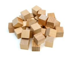 Stack wooden blocks on a white background