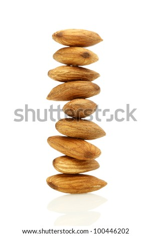 Stacked Almond Nuts on White Background