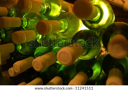 stacked bottles of white wine