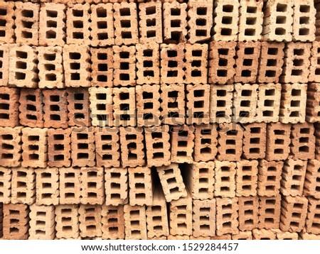 Stacked bricks materials. Building materials