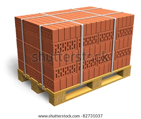 Stacked bricks on wooden shipping pallet isolated on white background