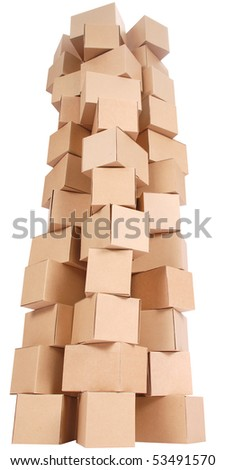 Stacked cardboard boxes on white background