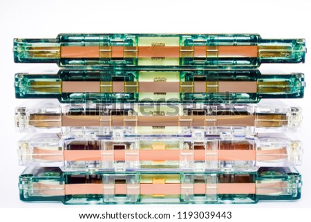 stacked cassettes. old generations music icons, cassettes. creative idea for music life.