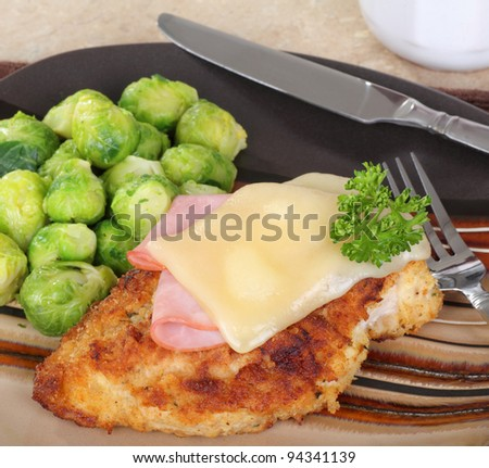 Stacked chicken cordon bleu with brussels sprouts
