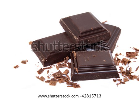 stacked chocolate candy on white background