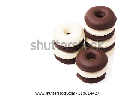 Stacked Chocolate Donuts isolated on white background