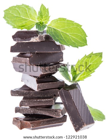 Stacked Chocolate with Mint isolated on white