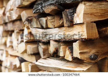 Stacked chopped wood for the winter or construction