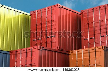 Stacked color cargo container over blue sky