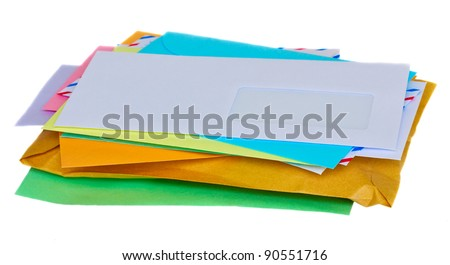 stacked colorful mail isolated on white background