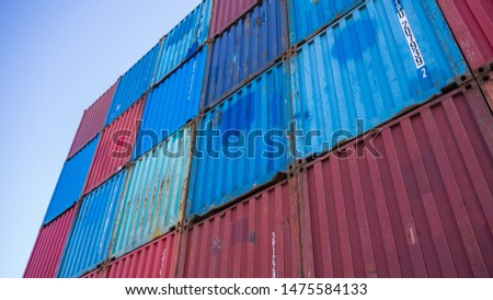 Stacked containers waiting to be shipped
