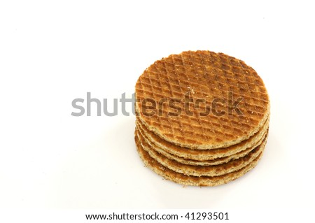 stacked Dutch waffles called a stroopwafel on a white background