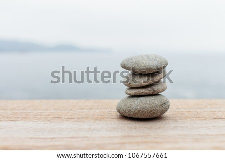 Stacked four pebbles