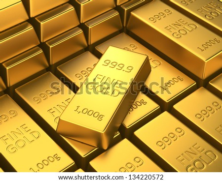 stacked gold bars in