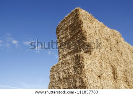 Stacked hay bales against a blue sky #111857780