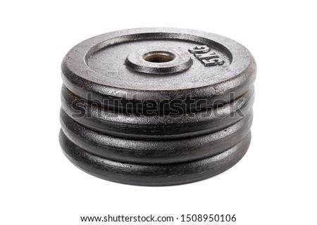 Stacked 5 kg weight discs