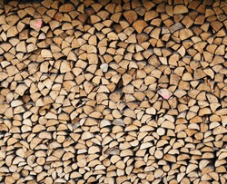 stacked loggs of fire wood texture background . High quality photo