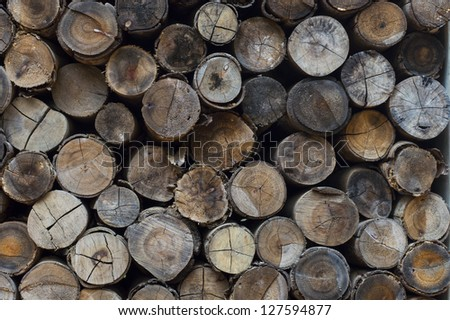 Stacked logs background texture. - stock photo