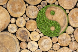 Stacked Logs Background with ying yang symbol