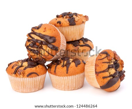 Stacked muffins  isolated on white background