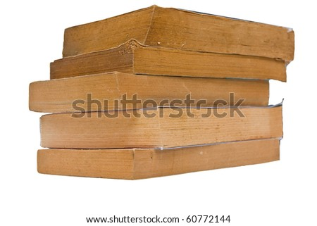 Stacked of Old book isolate white background