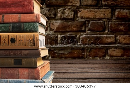 Stacked old books, stack, pile.