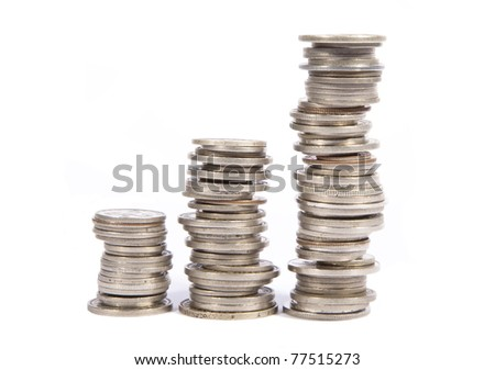 Stacked old silver coins