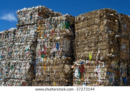 Stacked paper bales for recycling