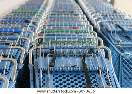 stacked shopping carts
