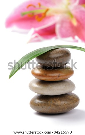 Stacked spa stones isolated on white