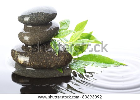 Stacked stones in water