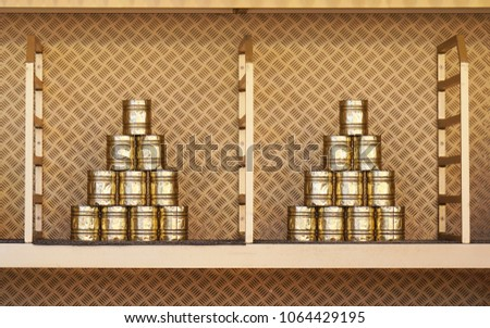 stacked tin can pyramid for can knockdown game at funfair, known as Dosenwerfen in Germany