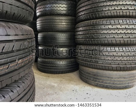 Stacked tires for sale in tire shops