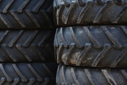 stacked tractor tires in closeup