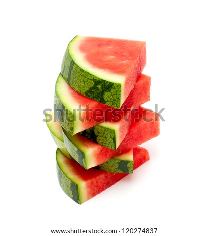 stacked water melon slices over white