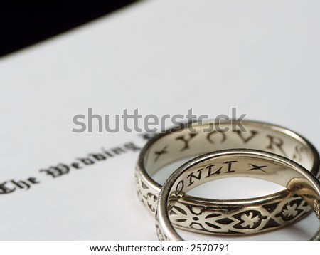 Wedding Ring Inscriptions Stacked Wedding Rings With Inscriptions Stock Photo 2570791