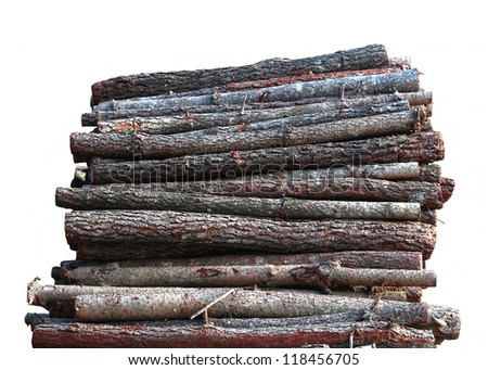 Stacked wood logs isolated on white background