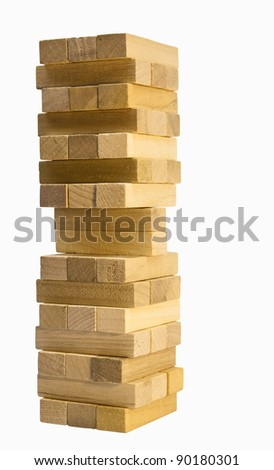 stacked wooden building blocks on white with clipping path at original size